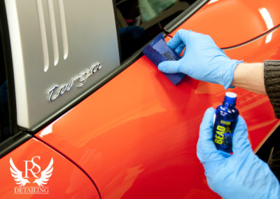 Porsche 911 911 Targa-RS Detailing, polerowanie, renowacja lakieru, powloka ceramiczna, ceramika Gyeon DuraBead, Rupes, spa 25